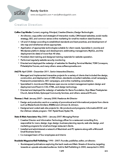 pdf resume randy garbin creative work