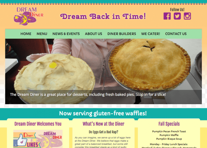 Dream Diner website