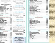Four Sisters Diner Menu interior spread