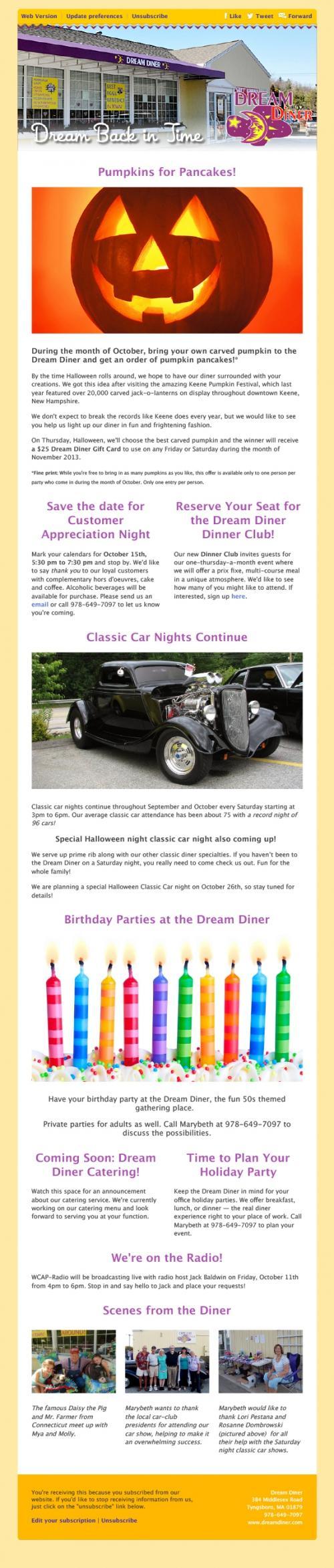 Randy Garbin Email Dream Diner Eblasts